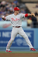Chase Utley #26 of the Philadelphia Phillies during a game against the Los Angeles Dodgers at Dodger Stadium on July 16, 2012 in Los Angeles, California. Philadelphia defeated Los Angeles 3-2. (Larry Goren/Four Seam Images)