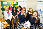 Presentation Secondary School Tralee held a Dragon's Den competition for Transition Year Enterprise Students on Monday. Pictured Mary O'Connell, Laura Scanell and Aisling O Connell with their Enterprise idea 'Smart Supplies' and Dragon's Lisa O'Carroll, Kerry Enterprise Board, Aidan O'Mahony, Tralee Garda Síochána, Teresa Walker Lee strand, and Juliette Harrington, AIB