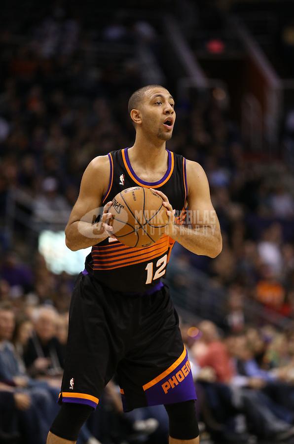 Feb. 10, 2013; Phoenix, AZ, USA: Phoenix Suns point guard Kendall Marshall against the Oklahoma City Thunder at the US Airways Center. Mandatory Credit: Mark J. Rebilas-