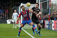 3rd November 2019; Selhurst Park, London, England; English Premier League Football, Crystal Palace versus Leicester City; James Tomkins of Crystal Palace competes for the ball with Ben Chilwell of Leicester City - Strictly Editorial Use Only. No use with unauthorized audio, video, data, fixture lists, club/league logos or 'live' services. Online in-match use limited to 120 images, no video emulation. No use in betting, games or single club/league/player publications