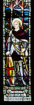 Stained glass window war memorial church of Saint Peter, Milton Lilbourne, by Jones and Willis 1919 detail showing Saint George