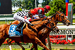 JULY 04, 2020 : Frank's Rocket with John Velazquez aboard, holds off a fast closing Reagan's Edge, to win the Grade 3 Victory Ride Stakes, going 6.5 furlongs, at Belmont Park, Elmont, NY.  Sue Kawczynski/Eclipse Sportswire/CSM
