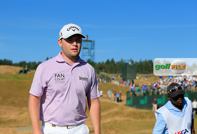 Branden GRACE (RSA) walks off the 15th green during Sunday's Final Round of the 2015 U.S. Open 115th National Championship held at Chambers Bay, Seattle, Washington, USA. 6/22/2015.<br /> Picture: Golffile | Eoin Clarke<br /> <br /> <br /> <br /> <br /> All photo usage must carry mandatory copyright credit (&copy; Golffile | Eoin Clarke)