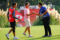 Kyle Stanley (USA) shakes hands with Kiradech Aphibarnrat (THA) on the 18th green during the 3rd round at the WGC HSBC Champions 2018, Sheshan Golf CLub, Shanghai, China. 27/10/2018.<br /> Picture Fran Caffrey / Golffile.ie<br /> <br /> All photo usage must carry mandatory copyright credit (&copy; Golffile | Fran Caffrey)