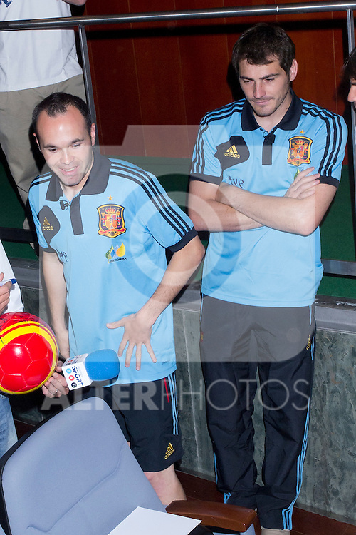 01.06.2012. Telecinco presents its official schedule for the transmission of Eurocup 2012 to the Ciudad del Futbol of Las Rozas, Madrid. In the image Andres Iniesta and Iker Casillas (Alterphotos/Marta Gonzalez)