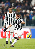 Calcio, Serie A: Juventus - Genoa, Torino, Allianz Stadium, 22 gennaio 2018. <br /> Juventus' Miralem Pjanic in action during the Italian Serie A football match between Juventus and Genoa at Torino's Allianz stadium, January 22, 2018.<br /> UPDATE IMAGES PRESS/Isabella Bonotto