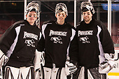 Kris Carlson (PC - 30), Hayden Hawkey (PC - 31), Brendan Leahy (PC - 1) - The Providence College Friars practiced at Fenway on Friday, January 6, 2017, in Boston, Massachusetts.