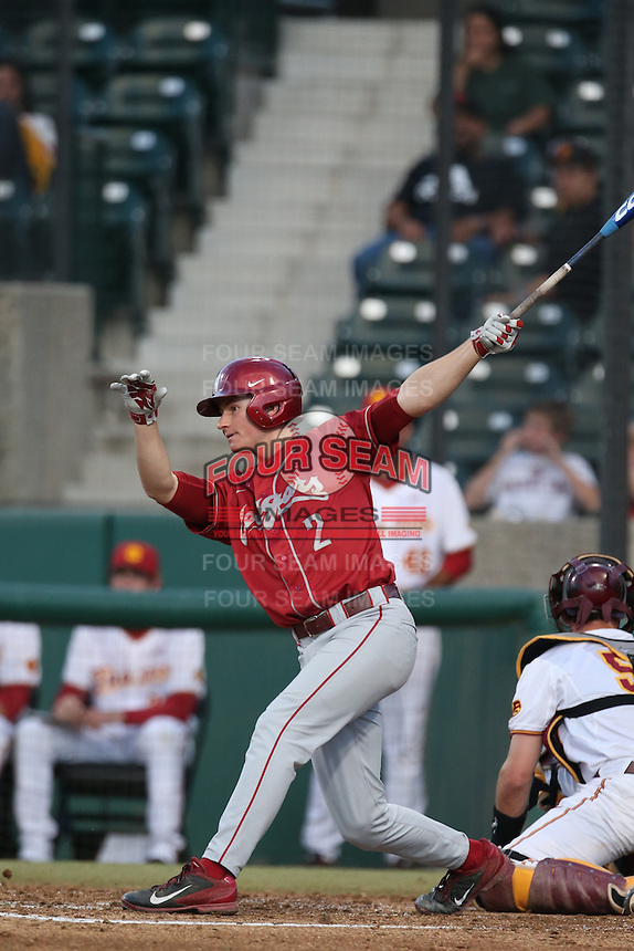 Jack Strunc (2) of the Washington State Cougars bats during a game against the Southern California Trojans at Dedeaux Field on March 13, 2015 in Los Angeles, California. Southern California defeated Washington State, 10-3. (Larry Goren/Four Seam Images)