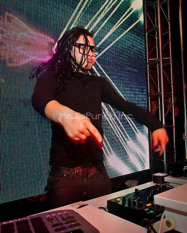 Skrillex performs at Surrender Nightclub at Encore at Wynn Las Vegas in Las Vegas, NV on December 9, 2011. Skrillex was just nominated for 5 Grammy Awards. Erik Kabik / MediaPunch.