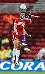 Rudy Gestede of Middlesbrough challenged by Chris Basham of Sheffield Utd during the Championship match at the Riverside Stadium, Middlesbrough. Picture date: August 12th 2017. Picture credit should read: Simon Bellis/Sportimage