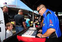 Jun. 2, 2012; Englishtown, NJ, USA: NHRA top fuel dragster driver Brandon Bernstein during qualifying for the Supernationals at Raceway Park. Mandatory Credit: Mark J. Rebilas-