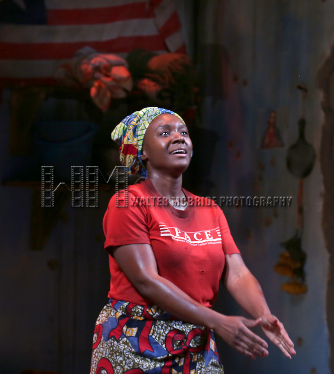 Saycon Sengbloh onstage during the 'Eclipsed' broadway opening night curtain call at The Golden Theatre on March 6, 2016 in New York City.