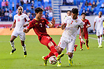 Do Duy Manh of Vietnam (L) fights for the ball with Yousef Rawshdeh of Jordan (R) during the AFC Asian Cup UAE 2019 Round of 16 match between Jordan (JOR) and Vietnam (VIE) at Al Maktoum Stadium on 20 January 2019 in Dubai, United Arab Emirates. Photo by Marcio Rodrigo Machado / Power Sport Images