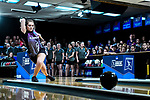 CLAYTON, MO - APRIL 14: Lauren Pate #9 of McKendree University reacts to after bowling against Vanderbilt University during the Division I Women's Bowling Championship held at Tropicana Lanes on April 14, 2018 in Clayton, Missouri. Vanderbilt University defeated McKendree University 4-3. (Photo by Tim Nwachukwu/NCAA Photos via Getty Images)