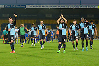 Wycombe Wanderers players thank the travelling supporters following the Sky Bet League 2 match between Mansfield Town and Wycombe Wanderers at the One Call Stadium, Mansfield, England on 31 October 2015. Photo by Garry Griffiths.