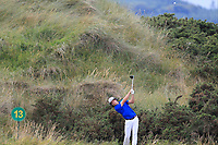 Alex Gleeson (Castle) on the 13th tee during the 1/4 Finals of the AIG Irish Close Championship at the European Club, Brittas Bay, Wicklow, Ireland on Monday 6th August 2018.<br /> Picture: Thos Caffrey / Golffile<br /> <br /> All photo usage must carry mandatory copyright credit (&copy; Golffile | Thos Caffrey)