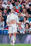 Daniel Carvajal Ramos of Real Madrid reacts during the UEFA Champions League 2018-19 match between Real Madrid and Roma at Estadio Santiago Bernabeu on September 19 2018 in Madrid, Spain. Photo by Diego Souto / Power Sport Images