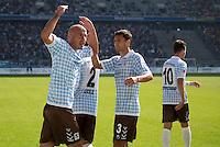 Fussball 2. Bundesliga:  Saison   2012/2013,    6. Spieltag  TSV 1860 Muenchen - Eintracht Braunschweig  23.09.2012 Jubel Necat Ayguen und Gregor Wojtkowiak (v. li., 1860 Muenchen)