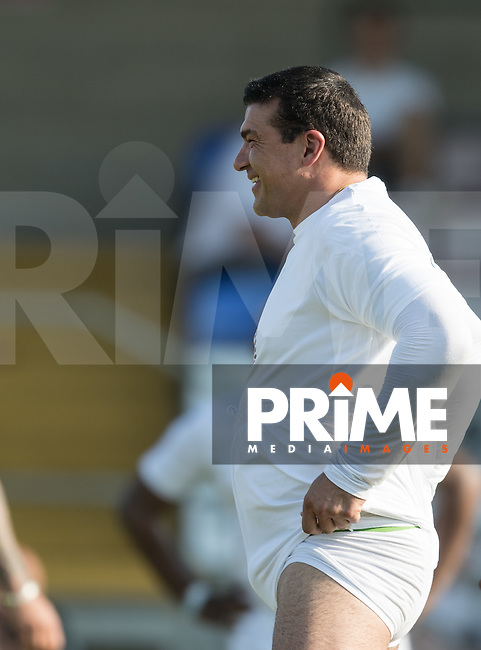 Tamer Hassan (Actor) sorts himself out ready for the match during the 'Greatest Show on Turf' Celebrity Event - Once in a Blue Moon Events at the London Borough of Barking and Dagenham Stadium, London, England on 8 May 2016. Photo by Kevin Prescod / PRiME Media Images.