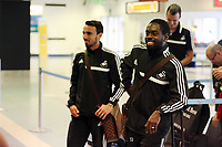 Wednesday 07 August 2013<br /> Pictured L-R: Leon Britton and Nathan Dyer at Cardiff Airport.<br /> Re: Swansea City FC travelling to Sweden for their Europa League 3rd Qualifying Round, Second Leg game against Malmo.