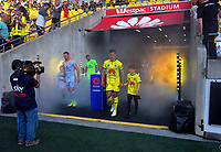 The teams walk out for the A-League football match between Wellington Phoenix and Brisbane Roar at Westpac Stadium in Wellington, New Zealand on Saturday, 23 November 2019. Photo: Dave Lintott / lintottphoto.co.nz