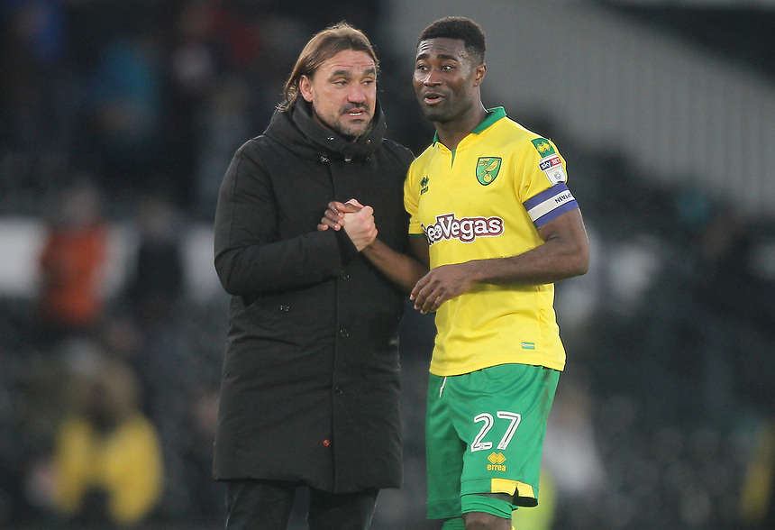 Norwich City's Manager Daniel Farke  talks to Alexander Tettey<br /> <br /> Photographer Mick Walker/CameraSport<br /> <br /> The EFL Sky Bet Championship - Derby County v Norwich City - Saturday 10th February 2018 - Pride Park - Derby<br /> <br /> World Copyright &copy; 2018 CameraSport. All rights reserved. 43 Linden Ave. Countesthorpe. Leicester. England. LE8 5PG - Tel: +44 (0) 116 277 4147 - admin@camerasport.com - www.camerasport.com