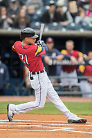 Toledo Mud Hens outfielder Jacoby Jones (4) swings the bat against the Lehigh Valley IronPigs during the International League baseball game on April 30, 2017 at Fifth Third Field in Toledo, Ohio. Toledo defeated Lehigh Valley 6-4. (Andrew Woolley/Four Seam Images)