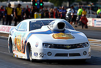 Aug. 16, 2013; Brainerd, MN, USA: NHRA pro stock driver Steve Kent during qualifying for the Lucas Oil Nationals at Brainerd International Raceway. Mandatory Credit: Mark J. Rebilas-