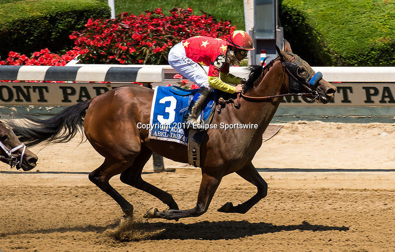 ELMONT, NY - JUNE 10: Abel Tasman #3, ridden by Mike Smith, wins the Acorn Stakes on Belmont Stakes Day at Belmont Park on June 10, 2017 in Elmont, New York (Photo by Dan Heary/Eclipse Sportswire/Getty Images)
