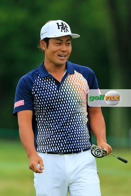 Hideto Tanihara (JPN) sinks his putt on the 8th green during Friday's Round 1 of the 2016 U.S. Open Championship held at Oakmont Country Club, Oakmont, Pittsburgh, Pennsylvania, United States of America. 17th June 2016.<br /> Picture: Eoin Clarke | Golffile<br /> <br /> <br /> All photos usage must carry mandatory copyright credit (&copy; Golffile | Eoin Clarke)