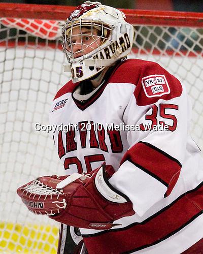 Ryan Carroll (Harvard - 35) - The Princeton University Tigers defeated the Harvard University Crimson 2-1 on Friday, January 29, 2010, at Bright Hockey Center in Cambridge, Massachusetts.