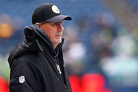 Defensive coordinator Keith Butler of the Pittsburgh Steelers looks on against the Seattle Seahawks during the game at CenturyLink Field on November 29, 2015 in Seattle, Washington. (Photo by Jared Wickerham/DKPittsburghSports)