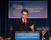 United States Secretary of Energy Rick Perry makes remarks after accepting the 2019 Lamplighter Public Service Award from Rabbi Levi Shemtov, Executive Vice President of the American Friends of Lubavitch (Chabad) during a gala dinner at the Organization of American States in Washington, DC on Tuesday, June 18, 2019.<br /> Credit: Ron Sachs / CNP