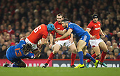 17th March 2018, Principality Stadium, Cardiff, Wales; NatWest Six Nations rugby, Wales versus France; Justin Tipuric of Wales is tackled by Mathieu Bastareaud of France