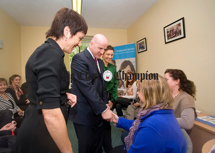 Sean Gallagher, independent presidential candidate, chats with entrepreneurs at the Clare Supported Employment Service on Harmony Row during his recent visit to Ennis. Photograph by Declan Monaghan