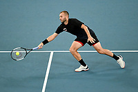 9th January 2020; Sydney Olympic Park Tennis Centre, Sydney, New South Wales, Australia; ATP Cup Australia, Sydney, Day 7; Great Britain versus Australia; Daniel Evans of Great Britain reaches for a volley against Alex de Minaur of Australia - Editorial Use