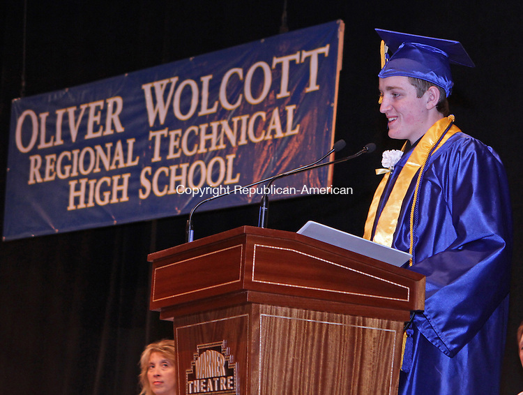 Torrington, CT-062013MK02 Luke Pepper shares a light moment as he delivers his valedictorian remarks during Oliver Wolcott Technical High School class of 2013 commencement exercises on Thursday evening at the Warner Theatre in Torrington. Michael Kabelka / Republican-American.