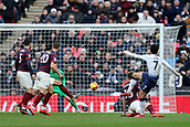2nd February 2019, Wembley Stadium, London England; EPL Premier League football, Tottenham Hotspur versus Newcastle United; Son Heung-Min of Tottenham Hotspur shoots and scores for 1-0 in the 83rd minute