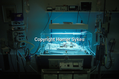 Baby in an incubator Premature Baby Unit Nottingham General Hospital