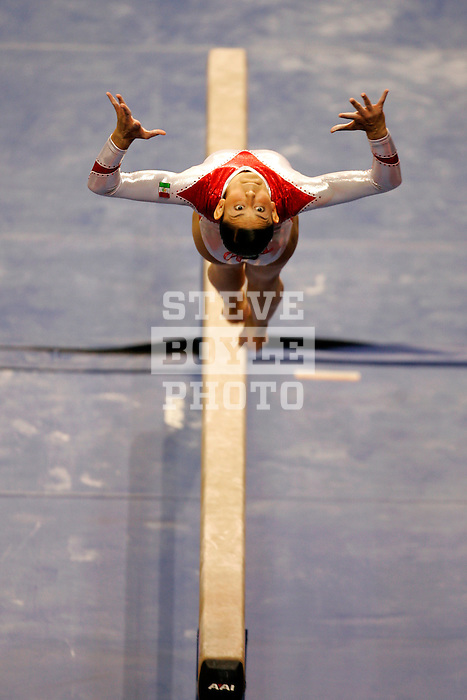 Elsa Garcia (MEX) performs her routine on the balance beam during the Tyson American Cup at the Jacksonville Memorial Arena in Jacksonville, Florida on March 2, 2007.