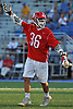 AJ Alexander #36 of Syosset reacts after scoring a goal in the Nassau County varsity boys lacrosse Class A semifinals against Farmingdale at Shuart Stadium, located on the campus Hofstra University in Hempstead, on Friday, May 25, 2018. Syosset won by a score of 9-4.