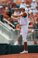 Texas Longhorns pitcher Hoby Milner #41 looks in for the sign during the NCAA baseball game against the Texas A&M Aggies on April 28, 2012 at UFCU Disch-Falk Field in Austin, Texas. The Aggies beat the Longhorns 12-4. (Andrew Woolley / Four Seam Images)..
