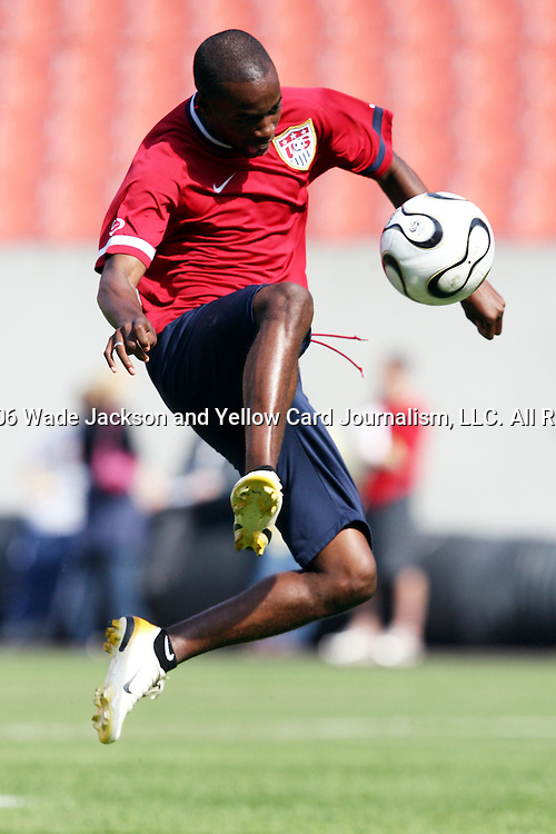 25 May 2006,  Forward, DaMarcus Beasley takes shots during practice.  The USA Mens National soccer team held a practice session before taking on Venezuela in an international friendly match at Cleveland Browns Stadium in Cleveland, Ohio in their preparation for competition at World Cup 2006 in Germany.