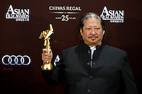 "HONG KONG - MARCH 21:  Hong Kong actor Sammo Hung poses backstage after winning the Best Supporting Actor Award for his role at the ""Ip Man 2"" during the 5th Asia Film Awards ceremony at the Convention and Exhibition Centre on March 21, 2011 in Hong Kong, China.  Photo by Victor Fraile / studioEAST"