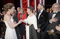 10 February 2-19 - Duchess of Cambridge Katherine Catherine Middleton meets Olivia Colman, Yorgos Lanthimos and Tony McNamara at the EE Bafta British Academy Film Awards 2019 at The Royal Albert Hall in London. Photo Credit: ALPR/AdMedia