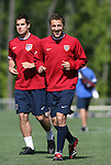 Steve Cherundolo (r) and Carlos Bocanegra (l) on Tuesday, May 16th, 2006 at SAS Soccer Park in Cary, North Carolina. The United States Men's National Soccer Team held a training session as part of their preparations for the upcoming 2006 FIFA World Cup Finals being held in Germany.