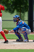 GCL Mets catcher Nelson Mompierre (9) awaits a pitch during a game against the GCL Nationals on August 4, 2018 at FITTEAM Ballpark of the Palm Beaches in West Palm Beach, Florida.  GCL Nationals defeated GCL Mets 7-4.  (Mike Janes/Four Seam Images)
