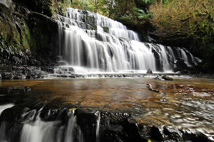The Purakanui Falls in the Catlins Forest Park in Otago - stock photo, canvas, fine art print