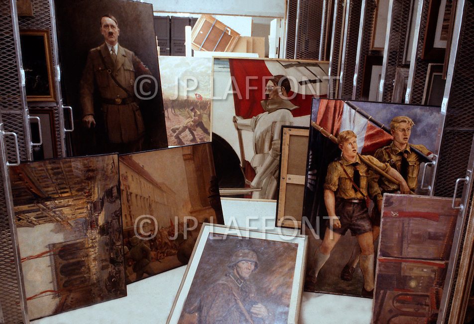 February 10, 1972, Arlington, Virginia. In the White National Socialist Party headquarters, some painting collection, Third Reich inspiration.