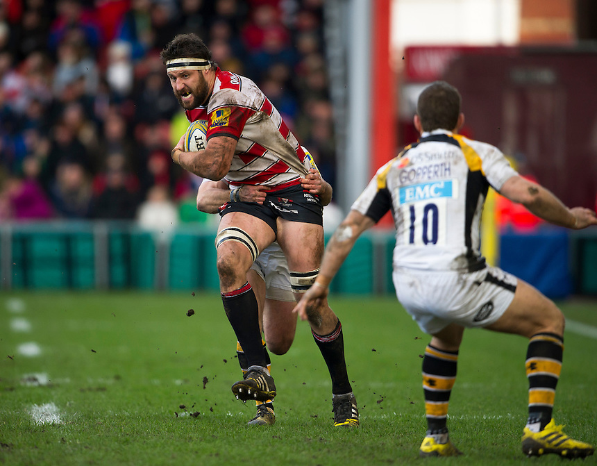 Gloucester Rugby's Jeremy Thrush in action during todays match<br /> <br /> Photographer Ashley Western/CameraSport<br /> <br /> Rugby Union - Aviva Premiership Round 15 - Gloucester Rugby v Wasps - Saturday 5th March 2016 - Kingsholm Stadium - Gloucester<br /> <br /> &copy; CameraSport - 43 Linden Ave. Countesthorpe. Leicester. England. LE8 5PG - Tel: +44 (0) 116 277 4147 - admin@camerasport.com - www.camerasport.com